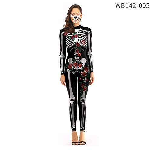 Gizayen Women's Skeleton Halloween Costume Bodysuit with Back Printing - Sexy Skeleton Costume Jumpsuit Female, 3D Print Skulls Halloween Cosplay Costume Long Sleeve Bodysuit