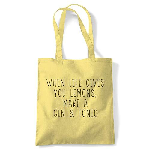 When Life Gives You Lemons Tote Ginebra Tónico G&t Limón Rebanada Enebro Bayas Pepino Zumo Batidora Lima Reutilizable Compras Lona de Algodón Mango Largo Natural Shopper Ecológico Moda