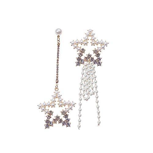 ZLININ Y-longhair - Pendientes de gota para mujer, diseño de estrella de cinco puntas, pendientes de temperamento