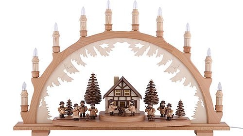 Authentic German Erzgebirge Handcraft Candle Arch - Musicians and Forest People - 67 x 42cm / 26 x 17 inch - Dregeno Seiffen