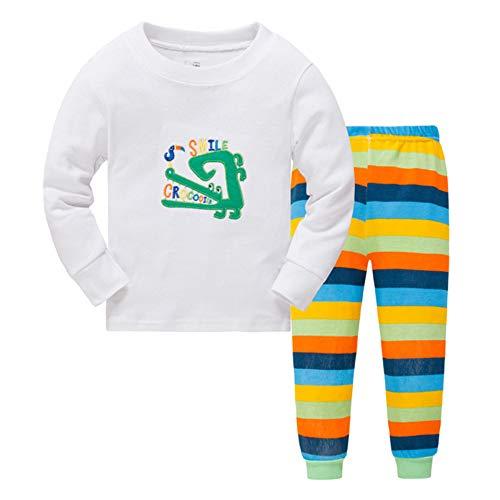 DELLOS Jungen Zweiteiliger Schlafanzug Baumwolle Lange Nachtwäsche Kinder Pyjama,Crocodile-110cm