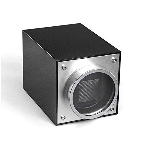 CCAN Enrollador de Reloj Individual, Caja de presentación giratoria de Relojes de Fibra de Carbono - Negro