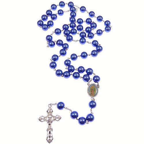MUY GRANDE perlado azul Vidrio Rosario Cuentas Nuestra Señora de Guadalupe Centro 66cm