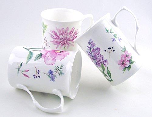 Fine English Bone China Mugs - Set of Three - Meadow Flowers by Roy Kirkham, England