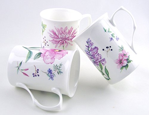 Fine English Bone China Mugs - Set of Three - Meadow Flowers by Roy Kirkham, England