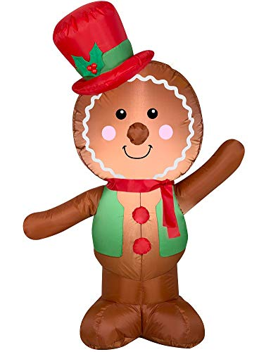 Holiday Time Christmas Inflatable LED Gingerbread Man Airblown Decoration by Gemmy (Simple)