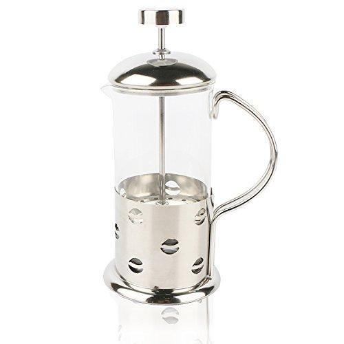 Premium Cafetière à piston 600 ml Carafe Brewer Double Presse avec poignée, filtre et couvercle en acier inoxydable en verre borosilicate résistant à la chaleur