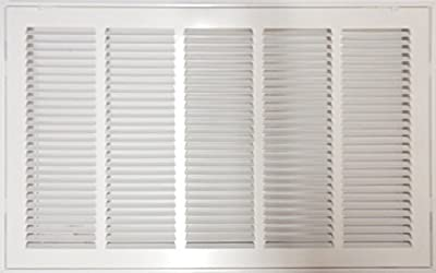 """25"""" X 20 Steel Return Air Filter Grille for 1"""" Filter - Removable Face/Door - HVAC DUCT COVER - Flat Stamped Face - White [Outer Dimensions: 27.5""""w X 22.5""""h]"""