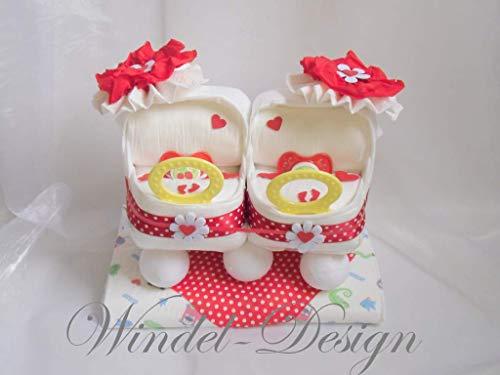 Windeltorte in rot für Jungen, Mädchen Zwillinge Windelwagen, Geschenk, Babyparty, Geburt oder Taufe, auf Wunsch mit Grußkärtchen