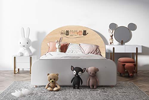 Deco&Fun - Cabecero Cama Infantil Madera Impreso Cats 115x60cm para Cama de 105 - Cabecero Original