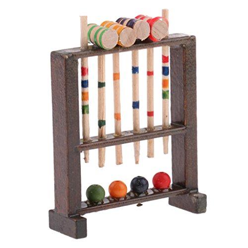 SM SunniMix Juego de Croquet en Miniatura de Casa de Muñecas 1/12, Modelo de Instrumento Musical, Juguete para Niños