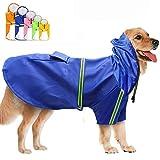 FEimaX Impermeable para Perros Abrigo Impermeables con Capucha, Chubasquero Reflectante y Ajustable, Poncho de Lluvia Impermeable para Perros Pequeños medianos y Grandes
