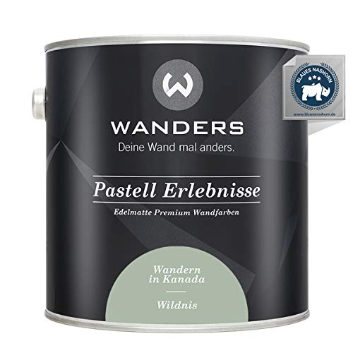 Wanders24® Pastell Erlebnisse (2,5 Liter, Wildnis) edelmatte Wandfarbe - Feine Farben - in 40 Farbtönen - Wandfarbe Grau - Made in Germany