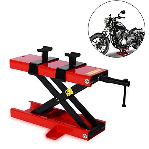 Mesa elevadora para motocicleta, soporte ajustable para bicicleta, gato de tijera de 1100 lbs Perfil Scooter de piso Elevador de alta resistencia con sillín para bicicleta de tierra, mini bicicleta
