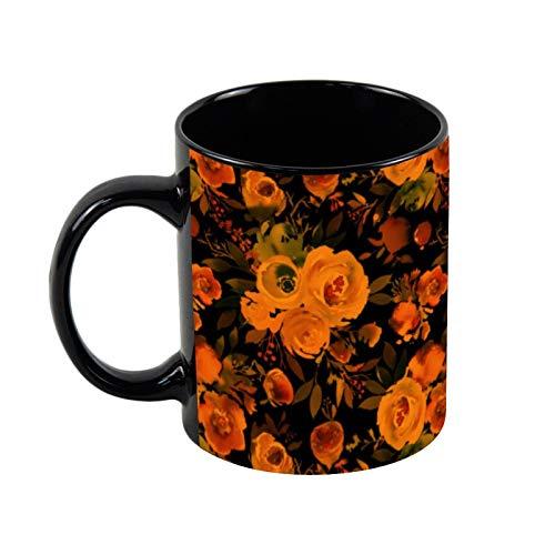 Taza de café con diseño de flores góticas, color naranja y negro, de cerámica negra, 325 ml, regalo de Navidad para ella, regalo de amigo