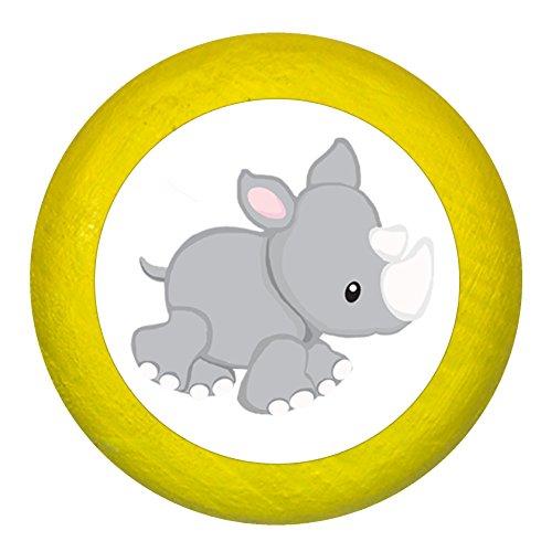 """Kommodengriff""""Nashorn"""" gelb Holz Buche Kinder Kinderzimmer 1 Stück wilde Tiere Zootiere Dschungeltiere Traum Kind"""