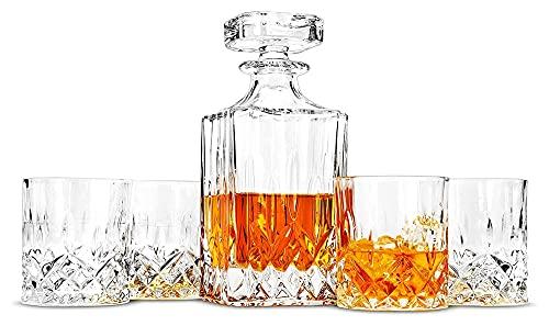 QJTZ Conjunto de decantores de Whisky, Decantador de Cristal escocés sin Plomo de 750 ml con Gafas de 4 × 300 ml, Barras de Rock para la Barra de la Fiesta y el hogar 0816