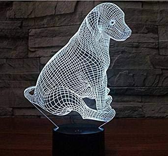 3D Hunde Optische Illusions-Lampen, Tolle 7 Farbwechsel Acryl berühren Tabelle Schreibtisch-Nachtlicht mit USB-Kabel für Kinder Schlafzimmer Geburtstagsgeschenke Geschenk