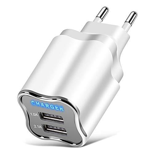 ZUEN 2-Port USB-Ladegerät EU/US-Stecker 5V 2.1A Wandadapter Handy-Ladegerät Samsung S9 Millet Tablet Tragbares USB-Ladegerät,EU