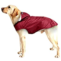 YULINGTRADE 小大犬の雨マントのためのペット犬のレインコート反射防水服フード付きジャンプスーツ (Color : Wine red, Size : XXXL)