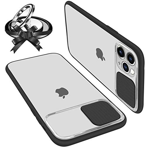UNIOTEK Funda con Tapa Deslizable para Cámara Compatible con iPhone 11 Pro Funda Protectora Antigolpe Carcasa PC y Silicona TPU con Soporte de Anillo (Soporte El Montaje De Coche Magnético) Negro