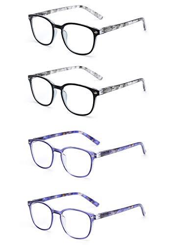 JM Lesebrille Satz von 4 Qualität Federscharnier Leser Damen Herren Brille Für Lesen +0.75 Grau & Blau