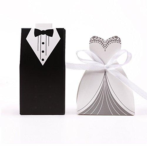 CLE DE TOUS@ 30 sets Cajas de boda para bombones caramelos chocolate Con forma Novio Novia Color Negro con Blanco (60 cajitas)