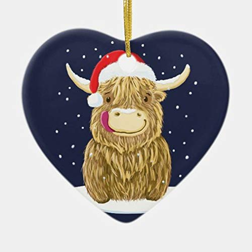 onepicebest Christmas Heart Ornaments Scottish Highland Cow in The Christmas Snow Ceramic Ornament Xmas Gifts Presents, Holiday Tree Decoration Stocking Stuffer Gift