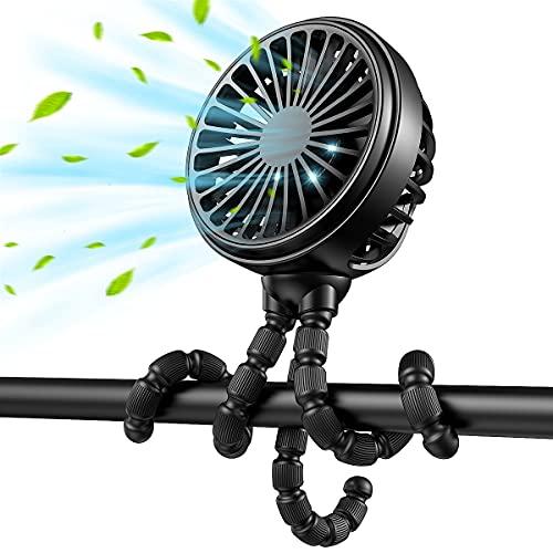 Mini Portable Fan, 2021 GUSGU Stroller Fan with Flexible Tripod, 3 Speed Cooling Desk Fan with Rechargeable Battery Operated,Small Fan for Bedroom, Outdoor, Camping, ect.