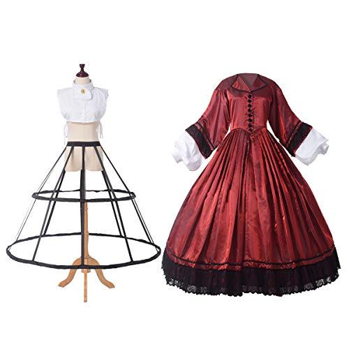 GRACEART Historische Kostuum Amerikaanse Oorlog Jurk Vrouwen 1818s Lange Mouw met Petticoat Victoriaanse Georgische Jurken met Crinoline, L, Wijn Rood