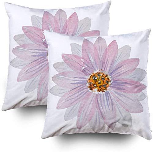 Juego de 2 fundas de almohada, diseño de flores de loto de acuarela de 45 x 45 cm, juego de 2 fundas de almohada con cremallera para sofá