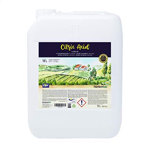 Nortembio Acide Citrique 10L. Liquide Concentré, 100% Pure. pour la Production Biologique. E-Book Inclus.
