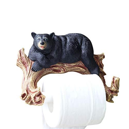 Y-only Wandmontierter Toilettenpapierrollenhalter, Papierhandtuchhalter, rustikales Baddekor, schwarzer Bär, der auf dem AST liegt, 21 × 16 cm