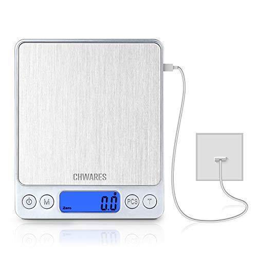 CHWARES Básculas digitales de cocina, carga USB, 3kg / 0,1g, mini básculas para alimentos, básculas eléctricas de cocina, báscula digital impermeable recargable por USB, pantalla LCD, acero inoxidable