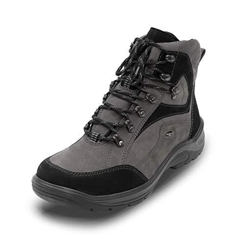 VITAFORM® Wanderschuhe Herren Wasserdicht, Trekkingschuhe, Wanderstiefel, Verstärkte Weite H für den vollen Fuß, Soft-Nubukleder, Grau
