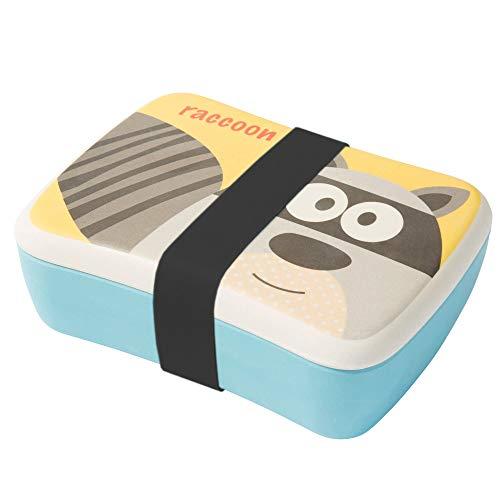 BIOZOYG Kinder Bento Lunchbox aus Bambus I Brotdose mit extra Snack Box I Mädchen und Junge Motiv Brotbox – Waschbär für Kindergarten I Lunch Set to Go BPA frei und 100{103faa916e7e4afe9d01092d72e754d1793ea5dffbd42cc9eca682aa752334c7} lebensmittelecht
