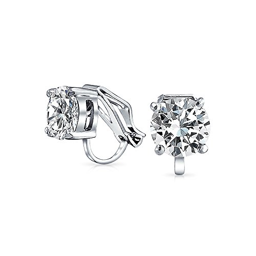 2CT Brilliant Cut Solitaire Round Cubic Zirconia CZ Clip On Stud Earrings For Women Non Piercing Silver Plated Brass