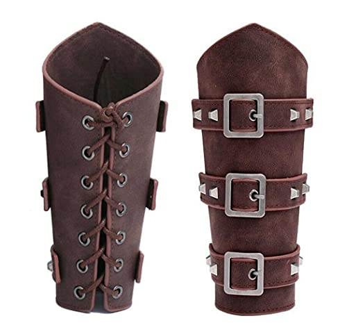 XELVSET Adults Faux Leather Arm Guards - Medieval Belt Leather Buckle Bracers - One Size - Leather Armband Pair Brown