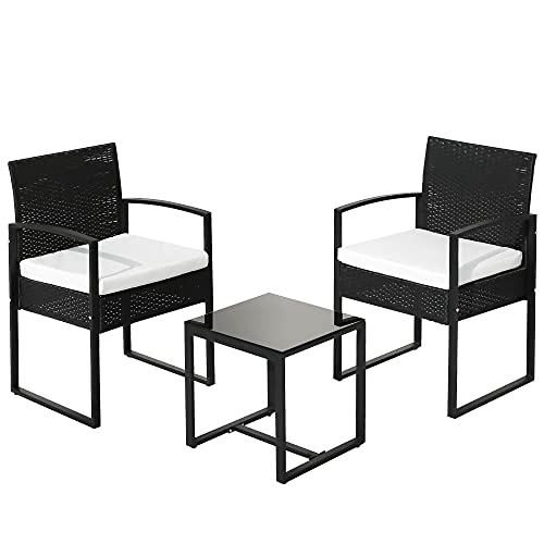 DFGGG Rattan Garden Furniture Set 3 piece Patio Rattan furniture sofa set with 2 Armchairs and 1 table Black