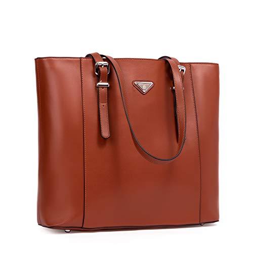 Muttertagsgeschenk BOSTANTEN Damen Leder Handtaschen Groß Shopper 15 Zoll Laptoptasche Schultertasche Aktentasche für Büro Braun