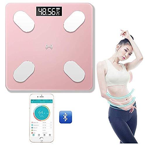 JKYQ Fettwaage APP Bluetooth Smart Electronic Health Skala Solarlade 12 Ätherische Gesundheit Maße Fett BMI Körpergewicht Muskelmasse Laufgewichtswaage 260x260mm,Rosa