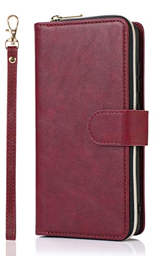 Compatible with Galaxy S21 Plus Case, Durable and Shockproof Magnetic Closure PU Leather Zipper Wallet 9 Credit Cards Slot Holder Flip Folio Full Body Protective Cover Wrist Strap Wine Red