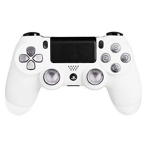 XFUNY(TM) Metal Bullet Buttons ABXY Buttons + Thumbsticks Thumb Grip and Chrome D-pad for Sony PS4 DualShock 4 Controller Mod Kit (Silver)