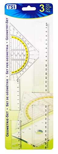 TSI 46293 Zeichengarnitur 3-teilig, mit Lineal 17 cm + 30 cm und Geodreieck 16 cm