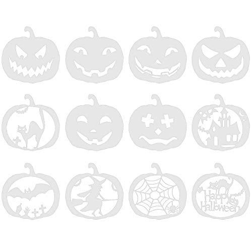 Halloween Kürbis Schablone, Migavenn 12 STÜCKE Wiederverwendbare Kürbis Dekorative Carving Schablonen Vorlage Set für Kinder Erwachsene Kürbis Engraver Künstler Halloween Thema Party Supplies