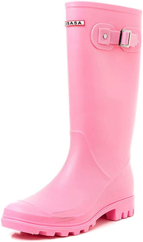 Fancyww Women's Rain Boots Waterproof Knee High Boots