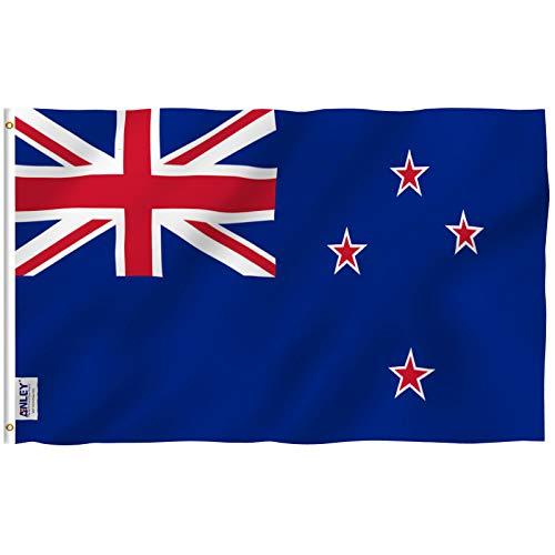 Anley Fly Breeze Bandera de Nueva Zelanda de 3x5 pies - Color Vivo y Resistente a la decoloración UV - Cabecera de Lona y Doble Costura - Banderas Nacionales neozelandesas de Kiwi Poliéster