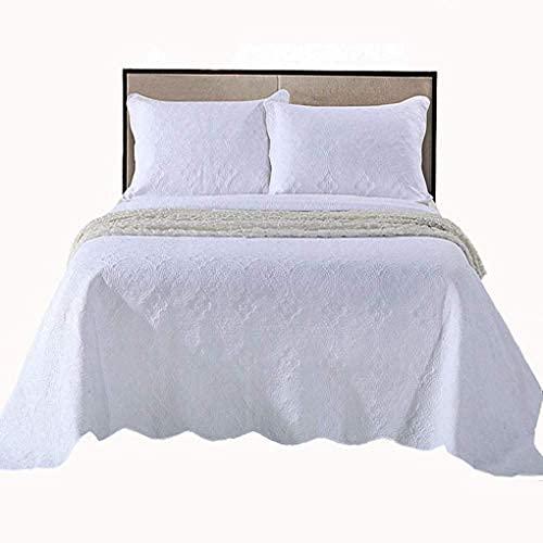 WEDF Elegante Colcha Blanca con 2 Fundas de Almohada 100% algodón Cobertor de Cama Acolchado Funda de Cama con Estampado Reversible para Todas Las Estaciones Decorativas para el hogar
