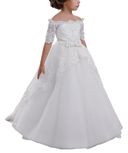 Elegant Flower Girl Lace Beading First Communion Dress 2-12 Years Old All Ivory Size 2