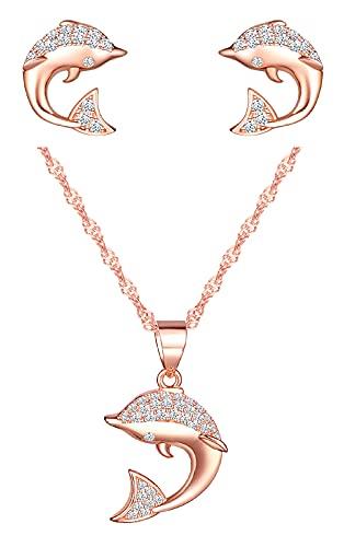 CPSLOVE Collana da donna ragazze, Orecchini da donna ragazze, Parure di gioielli in argento 925, Collana pendente delfino di diamanti, Orecchini delfino di diamanti, Oro rosa